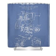 Wesson Hobbs Revolver Patent Drawing From 1899 - Light Blue Shower Curtain