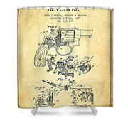 Wesson Hobbs Revolver Patent Drawing From 1899 - Vintage Shower Curtain
