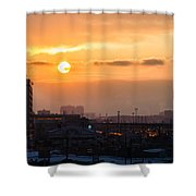 West Bound Trains Shower Curtain