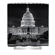 West Front Of The National Capitol Bw Shower Curtain