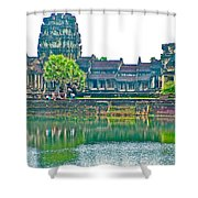 West Gallery From Across Moat In Angkor Wat In Angkor Wat Archeological Park Near Siem Reap-cambodia Shower Curtain