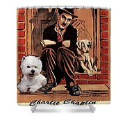 West Highland White Terrier Art Canvas Print - A Dogs Life Movie Poster Shower Curtain