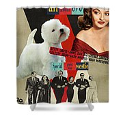 West Highland White Terrier Art Canvas Print - All About Eve Movie Poster Shower Curtain