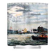 West India Dock Entrance And The Gun Public House Shower Curtain