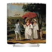 West Indian Landscape With Figures Promenading Before A Stream Shower Curtain