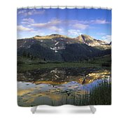 West Needle Mountains Reflected In  Pond Shower Curtain