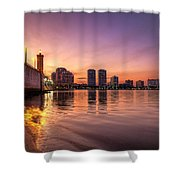 West Palm Beach Skyline At Dusk Shower Curtain
