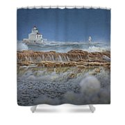 West Pierhead In Ice Shower Curtain