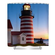 West Quoddy Head Light At Dawn I Shower Curtain
