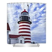 West Quoddy Head Lighthouse And Clouds Shower Curtain