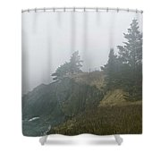 West Quoddy Head Lighthouse In Fog  Shower Curtain