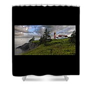 West Quoddy Head Lighthouse Panorama Shower Curtain by Marty Saccone