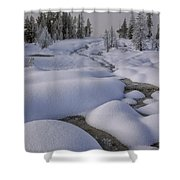 West Thumb Snow Pillows II Shower Curtain