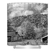 West Virginia Barns Monochrome Shower Curtain