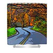 West Virginia Curves 2 Line Art Shower Curtain