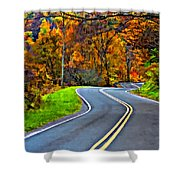 West Virginia Curves Painted Shower Curtain