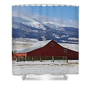 Westcliffe Landmark - The Red Barn Shower Curtain