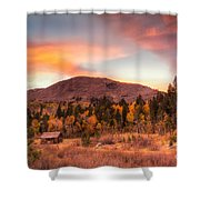 Western Barn At Sunset II Shower Curtain