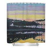 Western Lake Sunrise Shower Curtain