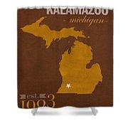 Western Michigan University Broncos Kalamazoo Mi College Town State Map Poster Series No 126 Shower Curtain