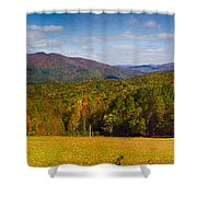 Western North Carolina Horses And Mountains Panorama Shower Curtain