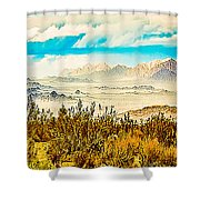 Western Panorama From Mountain At Joshua Tree National Park Shower Curtain