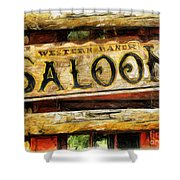 Western Saloon Sign - Drawing Shower Curtain