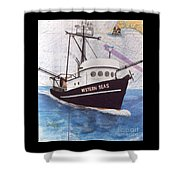 Western Seas Trawl Fishing Boat Nautical Chart Art Shower Curtain