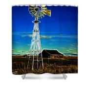 Western Windmill Shower Curtain by Steve McKinzie