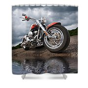 Wet And Wild - Harley Screamin' Eagle Reflection Shower Curtain