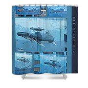 Whaling Wall 42 -  East Coast Humpbacks - Original Painting By Wyland Shower Curtain