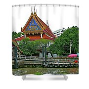 Wharf Along Waterway Of Bangkok-thailand Shower Curtain