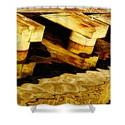 Wharf Reflections In Brown Shower Curtain