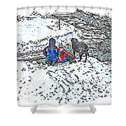 What Fascinates Children And Dogs -  Snow Day - Winter Shower Curtain