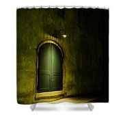 What Is Behind The Green Door? Shower Curtain
