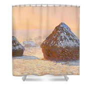 Wheat Stacks - Snow Effect Morning Shower Curtain
