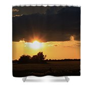 Wheatfield Sunset With Cloud's And Tree's Shower Curtain