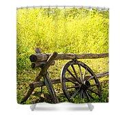 Wheel On Fence Shower Curtain