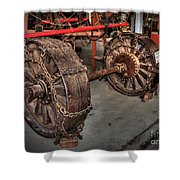 Wheels Of Old Steam Wagon Shower Curtain