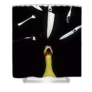 When Rubber Chickens Juggle Shower Curtain