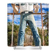 Whered It Go Muffler Man Statue Shower Curtain