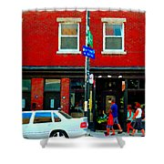 Wheres The Beef On Rue Notre Dame Joe Beef Resto Montreal Urban  Art Scene Carole Spandau Shower Curtain