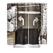 Which Way Shower Curtain by Margie Hurwich
