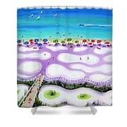 Whimsical Beach Umbrellas - Seashore Shower Curtain