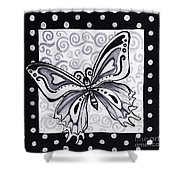 Whimsical Black And White Butterfly Original Painting Decorative Contemporary Art By Madart Studios Shower Curtain