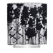 Whimsical Black And White Landscape Original Painting Decorative Contemporary Art By Madart Studios Shower Curtain