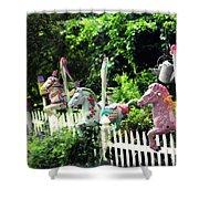 Whimsical Carousel Horse Fence Shower Curtain