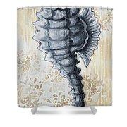 Whimsical Coastal Art Original Sea Horse Painting Sea Fantasy By Megan Shower Curtain