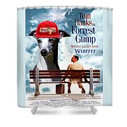 Whippet Art - Forrest Gump Movie Poster Shower Curtain
