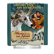 Whippet Art - The World In His Arms Movie Poster Shower Curtain